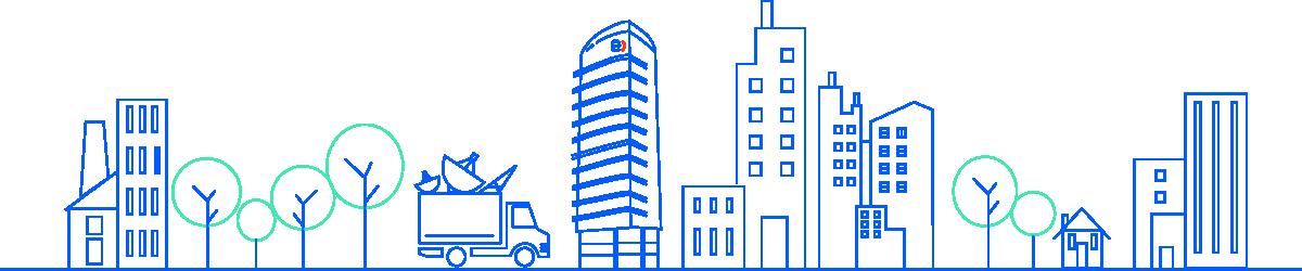 ciudad con edificios y camión de reciclaje